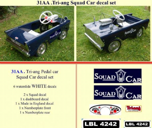 31AA Tri-ang Squad Car decal set